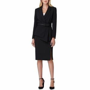 TAHARI ASL Women's Asymmetrical Belted Crepe Skirt Suit Two-Piece Dress TEDO