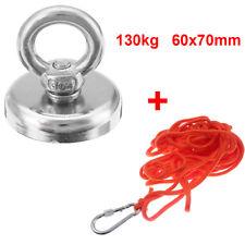130kg Pull Fishing Treasure Hunting Neodymium Recovery Magnet + 10 Metre Rope UK