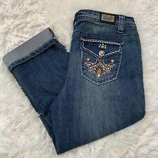 """Earl Jean Womens Size 8 Blue Denim Cuffed Capri Jeans 20"""" Inseam EUC"""