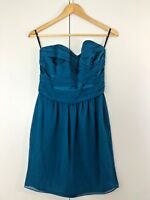 White Suede Womens Dress Size 8 Silk Blue Strapless Party Cocktail