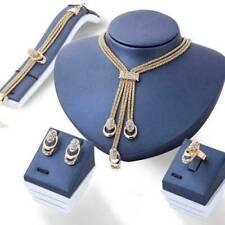 Wedding Bridal Jewelery Set 18K Rhinestone Necklace+Earrings+Bracelet+Ring Gift