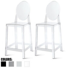 Walnut LumiSource Arc Barstool White Clear BS-ARCWL-W