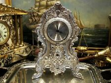 Large Silver Plate  Quartz Mantle Desk Clock Ornate Vintage Antique Gift