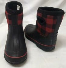 Child's Size 9/10 Red & Black Water Proof Rain Boots By Cat And Jack