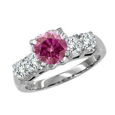 Diamond Ring 14K Wg Valentine Day Spl.Sale 0.45 Carat Pink Si2 5 Stone Round