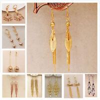 18K Gold Filled Earrings Bohemian Long Tassel Topaz gem Women Dangle Ear Stud BR
