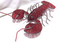 New BeadWorx Red Glass Bead Wire Lobster Beach House Indoor Outdoor Decor 317hz