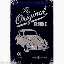 VW BEETLE Metal Sign THE ORIGINAL RIDE Vintage Retro Gift METAL POSTCARD 10x14cm