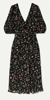 Ganni Black Floral Print Viscose-Georgette Puff Sleeve Midi Dress EU38/UK12