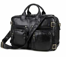 Men Real Leather 17'' Laptop Handbag Lawyer Briefcase Luggage Suitcase Backpack