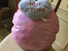 """Big soft pink sparkly pillow 16"""" wide with heart pillow girls room"""