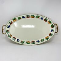 Kensington Garden Tabletop Oval Footed Serving Tray Platter Metal Enamelware