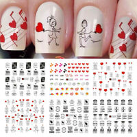 16pcs Nail Art Water Decals Heart Transfer Sticker Nail Tips For Valentine's Day