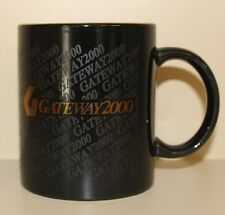 Gateway 2000 Coffee Mug Black & Gold Color 10 Oz G Computer Vintage Y2K Prepare