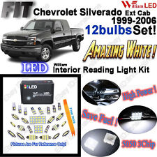 12pcs White LED Interior Light Kit For Chevy Silverado Extended Cab 1999-2006