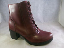 NEW DANSKO WOMEN'S AMES LACE-UP ZIPPER BOOTS RED WAXY LEATHER 38 8 MEDIUM $195