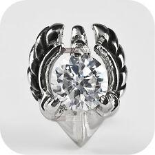 vintage silver style stud stainless steel crystal single earring 1ct