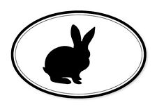"Bunny Oval car window bumper sticker decal 5"" x 3"""