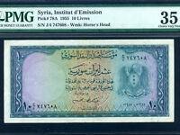Syria:P-78A,10 Livres,1955 * PMG VF 35 *