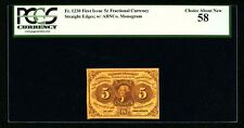 """1862-63 5 CENTS FRACTIONAL CURRENCY FR-1230 CERTIFIED PCGS """"CHOICE ABOUT NEW-58"""""""