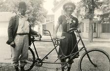 VINTAGE FUNNY UNUSUAL COSTUME TWIN BIKE BICYCLE BUILT TWO CLOWN CROSSDRESS PHOTO