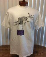 Bureaucrasaurus VTG Graphic T Shirt White Single Stitch Dinosaur Hanes Large Ctn