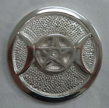 """Silver 3"""" Heavyweight Triple Moon Altar Tile, with Pentagram (Wicca Pagan)"""