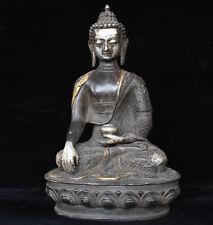 12 Old Tibet Buddhism Bronze Silver Sakyamuni Shakyamuni Buddha Hold Bowl Statue