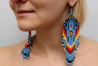 Blue Native American Beaded Earrings, Large Dangle Seed Bead Earrings, Handmade