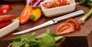 "Rada R126 Tomato Slicing Knife dual serrated 5"" blade, USA made kitchen cutlery"
