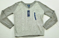 women's CHAP'S gray & white sweater size large v neck MSRP $50 brand new