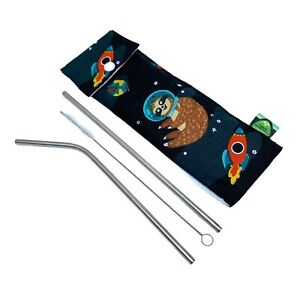 Reusable straws with a travel pouch. Sloth print bag, steel straws and cleaning