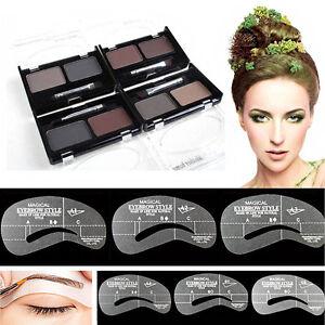 Eyebrow Waterproof Compact Powder 4 Shade - 4 Eyebrow Stencil Shaping Kit in UK
