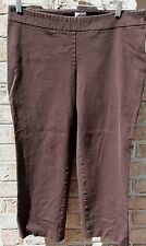CHICO'S 2.5 XL Brown Stretch Side Zip Flat Front Pants EEUC
