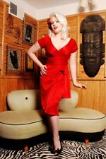 Pin Up Couture Red Satin Ava Wrap Dress Evening Retro Glam Small $114