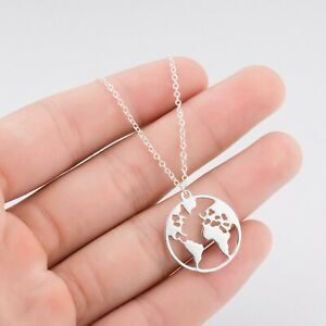 Ladies Silver Rose Gold Planet Earth World Map Travel Necklace Gift Present UK