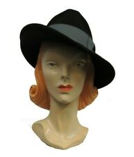 Black Ladies Tilt Fedora Hat 1930s 1940s Vintage style