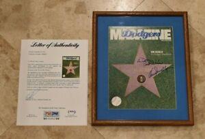 Rare VIN SCULLY Signed Framed LOS ANGELES DODGER Magazine Cover-Full PSA Letter