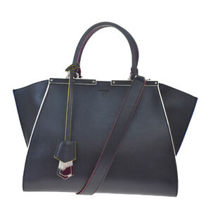 Authentic FENDI 2Jours 2Way Shoulder Hand Bag Leather Black Blue Italy 22MF348