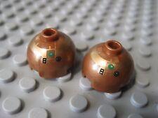 Lego Star Wars R4-G9 Droid Head- Copper Brick, Round 2 x 2 Dome Top  2 pcs