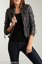 NWT MUUBAA WALMSLEY GREY ANTHRACITE LEATHER BIKER SKINNY JACKET US 8 M UK 12