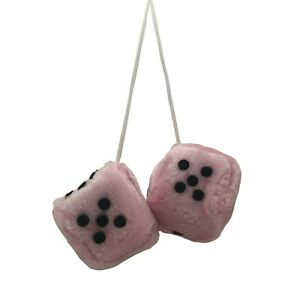Auto Care Pair Of Fluffy Fuzzy Soft Dice Car Mirror Hanging - Pink & Black