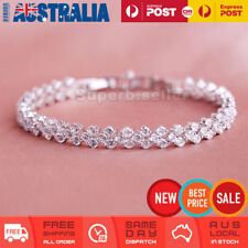 White Bling Rhinestone Diamonte Wedding Bridal Bracelet Bangle Crystal Wristband