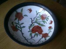 Vintage Japanese Porcelain Ware Dish Decorated in China incased in pewter 6inch