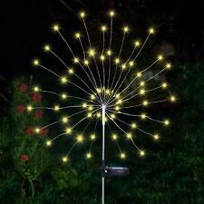 90 LED Solar Powered Firework Starburst Stake Light Warm White Garden Outdoor