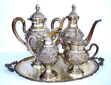 Servizio da The e Caffè in Argento 800 Stile Barocco 4pezzi + 1vassoio Lav. Mano