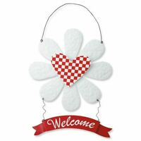 Hanging Metal Door Welcome Sign Daisy Flower Decor Art Metal Red & White Gift