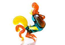 "NR Blown Glass Rooster Figurine, Handmade ""Murano"" Art Miniature"