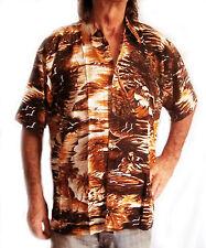 """Camisa Hawaiana, marrón con palmeras y Sunsets, L, 52 """", NUEVO"""