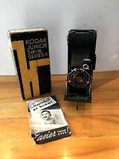 Vintage Kodak Junior Six-16 Series II folding film camera orig box papers 616 VG